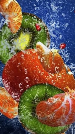 fruit fresh water drops sprays mandarin kiwi pomegranate