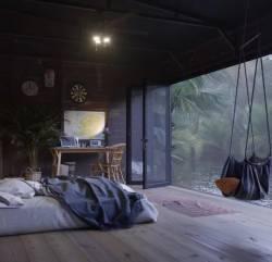 tropik salıncaklı balkon