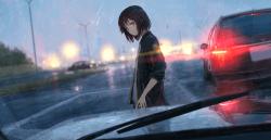 arabanın önündeki kız yağmurlu akşam